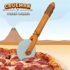 Unique Kitchen Knives Free Shipping 1piece The Stone Age Caveman Pizza Cutter Wheel With