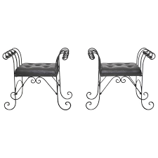 Leather Benches For Sale Pair Of Mid Century Wrought Iron Tufted Leather Benches For Sale