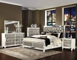 White Stained Wooden Mixed Mirror Bed Frame With Gray Faux Leather - White faux leather bedroom furniture