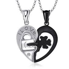 couples heart necklace images Couples pendant cute half heart necklace promise dating i love u jpg