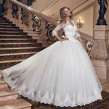 brautkleid korsett luxus spitze korsett weiß brautkleider mit ärmeln v zurück