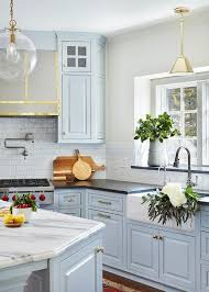 light blue cabinets kitchen light blue kitchen cabinets with farmhouse sink