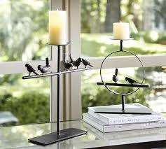 bird on a perch pillar candleholders pottery barn
