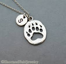personalized paw print necklace paw print necklace paw necklace initial necklace