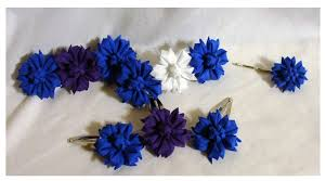 cornflower kanzashi hair accessories by eruwaedhielelleth on