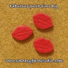 pearl pink kisses push pins by smeary face studio unique lips