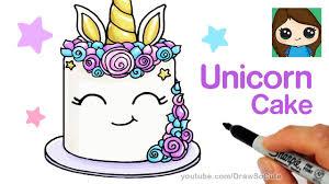 how to draw a unicorn cake easy youtube