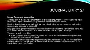 sample classical argument essay today s goals begin developing a thesis for your classical 3 journal