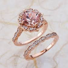 scalloped wedding band vintage bridal set morganite engagement ring and scalloped diamond