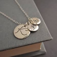 children s initial necklace for mothers necklace childrens initials three 3 initial necklace gift
