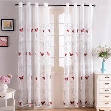 rideaux voilages cuisine rideaux voilages à oeillets 140x215cm brodés papillons rouges de