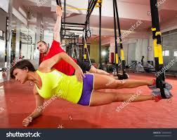 crossfit fitness trx training exercises gym stock photo 139058105
