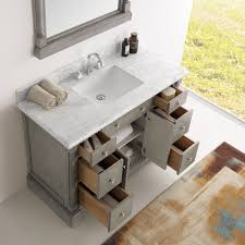 Silver Bathroom Sink 49 Inch Traditional Coffee Bathroom Vanity With Mirror And Carrera