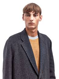 acne studios mens charles oversized wool coat in gray for men lyst