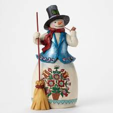 jim shore heartwood creek snowman with pipe and blue coat and top