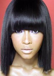 weave hairstyles with bangs for black women