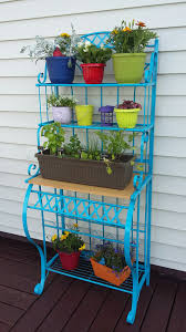 Bakers Rack Console I Used A Bakers Rack As A Plant Stand Love It Project Garden