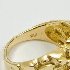 jewelry large rings images New solid 10k yellow gold large mens diamond cut nugget ring JPG