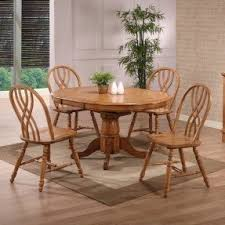 Solid Oak Dining Room Sets Round Dining Table With Butterfly Leaf Foter