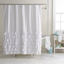 Ruffled Shower Curtains Conrad Ella Ruffle Fabric Shower Curtain