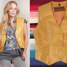 Gold Vest Womens 70s Mustard Yellow Leather Vest Unisex From Classic Rock