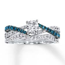 diamond wedding ring sets 1 carat luxurious white and blue diamond bridal ring set