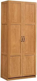 kitchen pantry wood storage cabinets sauder 419188 storage cabinet l 29 61 x w 16 10 x h 71 10 highland oak finish
