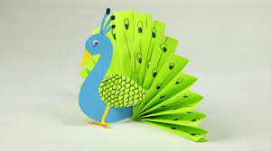 Paper Crafts - paper crafts for easy blue and neon peacock with paper