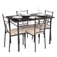 Steel Dining Room Chairs Brown Ikayaa Modern 5pcs Metal Frame Padded Dining Table Chairs