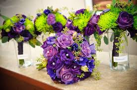Lime Green Flowers - wedding decoration centerpieces with purple and green flowers