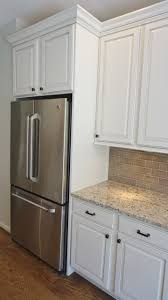 Kitchen Glazed Cabinets Refrigerator Enclosure To Give Built In Look With Glazed Cabinets