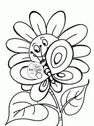 cute spring flower and butterfly coloring page for kids seasons