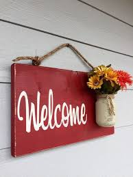 Custom Signs For Home Decor Nice Rustic Outdoor Welcome Sign In Red Wood Signs Front Door