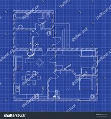 blueprint floor plan of a modern apartment on graph paper vector