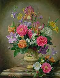 Design For Vase Painting Peonies And Irises In A Ceramic Vase Painting By Albert Williams