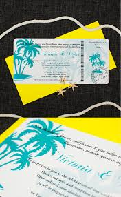 tropical blue boarding pass wedding invitation be my guest