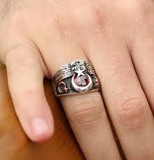 men u0027s sterling silver ottoman ring seljuk eagle and crescent moon