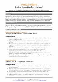 resume for exle quality analyst resume sles qwikresume