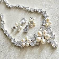crystal wedding necklace images Floral pearl and crystal wedding necklace earrings set cz pearl jpg