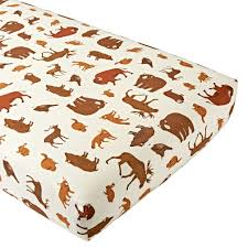 deep silo builder organic animal flannel crib fitted sheet the land of nod