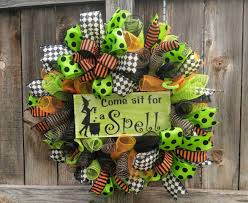Halloween Door Wreaths Sale Halloween Wreath Witch Wreath Come Sit For A Spell