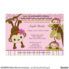 monkey baby shower invitation 3 little monkeys monkey