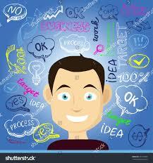 International Business Manager Head Manager Cartoon Character Concept Teamwork Stock Vector
