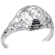 18 carat diamond ring 18 carat white gold deco filigree diamond engagement ring for