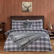 Brushed Cotton Duvet Covers Highland Silver Check Luxury Brushed Cotton Duvet Set Julian Charles