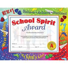 spirit award certificate va519 hayes publishing