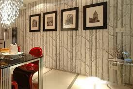birch tree woods modern wallpaper plain forest design black white