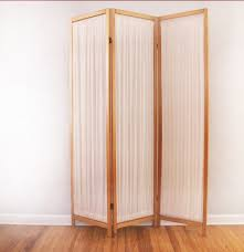 Divider Partition Folding Three Panel Wood And Fabric Room Divider Partition Screen