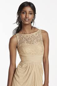 sleeveless mesh metallic bridesmaid dress with corded lace style
