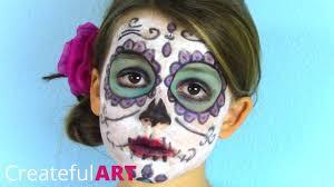 skull kid halloween costume pretty sugar skull face paint for kids day of the dead style